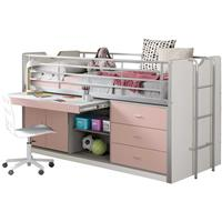 halfhoogslaper Bonny met uitschuifbaar bureau - roze - 116x96x207 cm