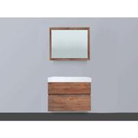 Saniclass Natural Wood Badmeubelset 80cm hangend model grey wash met wastafel wit 0 kraangaten inclusief spiegel SW8071
