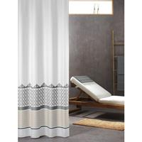douchegordijn Marrakech 100% polyester zilver print 180x200 cm