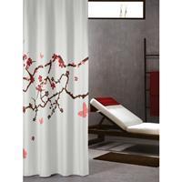 Sealskin douchegordijn Blossom 100% polyester rood print 180x200 cm