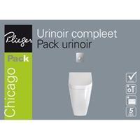 Plieger Chicago urinoir pack met deksel, spoelmechanisme en bedieningspaneel, mat chroom/wit
