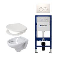 Plieger Compact toiletset compleet met inbouwreservoir, compacte toiletpot wit, zitting en bedieningsplaat wit