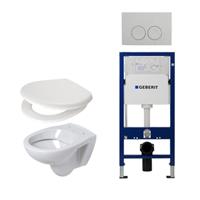 Plieger Compact toiletset compleet met inbouwreservoir, compacte toiletpot wit, zitting en bedieningsplaat chroom