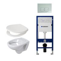 Plieger Compact toiletset compleet met inbouwreservoir, compacte toiletpot wit, zitting en bedieningsplaat Delta 50 wit