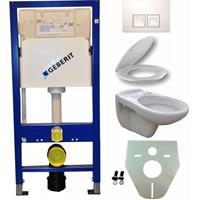 Toiletset  UP100 Duofix + Wiesbaden Neptunus hangend toilet met zitting +  Delta50 bedieningsplaat, wit
