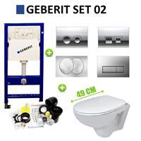 Geberit UP100 Toiletset set02 B&W Compact 47.5 cm met Delta drukplaat
