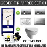 Geberit UP100 Randloos Toiletset set01 Boss & Wessing Design met Delta drukplaat