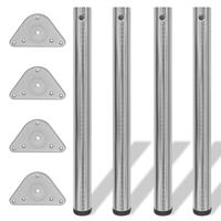 vidaXL Tafelpoten in hoogte verstelbaar 710 mm geborsteld nikkel 4 st
