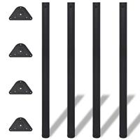 vidaXL Tafelpoten in hoogte verstelbaar 1100 mm zwart 4 st