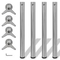 vidaXL Tafelpoten in hoogte verstelbaar geborsteld nikkel 710 mm 4 st
