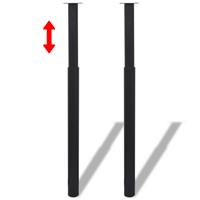vidaXL Tafelpoten telescopisch 710-1100 mm zwart 2 st