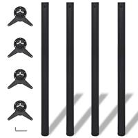 vidaXL Tafelpoten in hoogte verstelbaar zwart 1100 mm 4 st