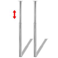 vidaXL Tafelpoten telescopisch 710-1100 mm chroom 2 st