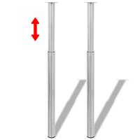 vidaXL Tafelpoten telescopisch geborsteld nikkel 710 mm - 1100 mm 2 st