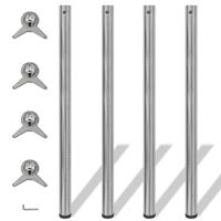 vidaXL Tafelpoten in hoogte verstelbaar geborsteld nikkel 1100 mm 4 st