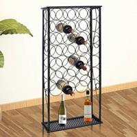 VidaXL Wijnrek voor 28 flessen metaal