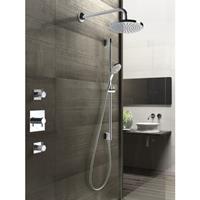 Hotbath IBS 2 Get Together inbouw doucheset Laddy vierkant - geborsteld nikkel - met staafhanddouche - 20cm hoofddouche - met wandarm - zonder glijstang