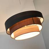 Lampenwelt Donkere hanglamp Melia in zwart en bruin