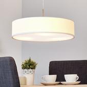 Lampenwelt Witte LED-pendellamp Sebatin van stof