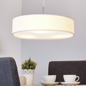 Lampenwelt Crèmekleurige LED-pendellamp Sebatin van stof