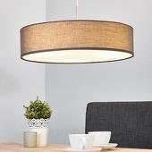 Lampenwelt Stoffen pendellamp Sebatin in grijs m. E27-LED