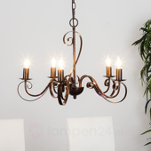 Lampenwelt 5-lamps kroonluchter Caleb, roestkleurig