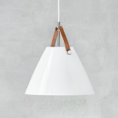 Nordlux LED glazen hanglamp Strap 27 m. leren ophanging