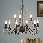 Lampenwelt Kroonluchter Caleb in landelijke stijl, 9-lamps