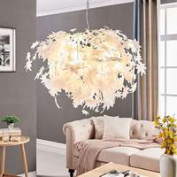 Lampenwelt Grote hanglamp Maple met bladmotief