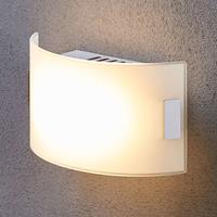 Lampenwelt Witte glazen wandlamp Gisela met LED lampen.
