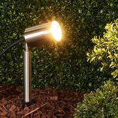 Lampenwelt Eske- GU10-grondspieslamp van roestvrij staal