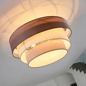 Drielaagse plafondlamp Melia in bruin en grijs
