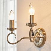 Lampenwelt Elegante wandlamp Marnia in oud messing