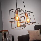 Viokef Hanglamp Agatha in vintage-look drie lichtbronnen