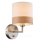 Globo Mooie stoffen wandlamp Libba in crème-hout