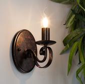 Lampenwelt Caleb - roestkleurige wandlamp in landelijke stijl