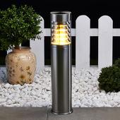 Lampenwelt Roestvrijstalen sokkellamp Enja met lamellen
