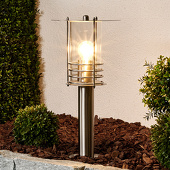 Lampenwelt Elegante roestvrij stalen sokkellamp Miko