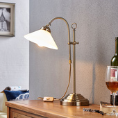 Lampenwelt Klassieke tafellamp Otis in oud-messing