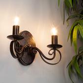 Lampenwelt Roestkleurige wandlamp Caleb, 2-lamps