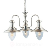 Searchlight Hanglamp Fisherman, met 3 lampjes in zilver