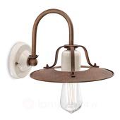Ferroluce Rustieke wandlamp Riccardo met witte keramiek