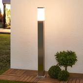 Lampenwelt Hoekige pollerlamp Lorian van roestvrij staal