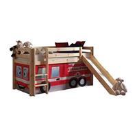 halfhoogslaper Pino met glijbaan en brandweerset - grenenhout