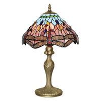 Searchlight Betoverende Tiffany stijl tafellamp DRAGONFLY