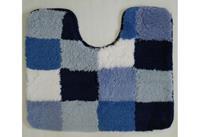 Coppens Toiletmat 50 x 60 cm blokken wit/blauw