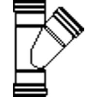 wavin Wafix PVC T-stuk 45° 16x12,5x16 cm 3x manchet sn4, grijs