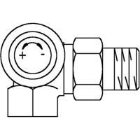 Oventrop thermostatische radiatorafsluiter AV9 3/8 dubbel haaks links 1183471