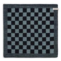 knitfactory Knit Factory keukendoek blok - zwart/steen groen