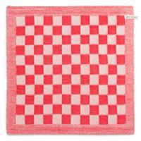knitfactory Knit Factory keukendoek blok - ecru/rood